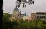 View of Almudena Cathedral, taken from Park of the Meadow's Slope - Madrid, Spain (49)