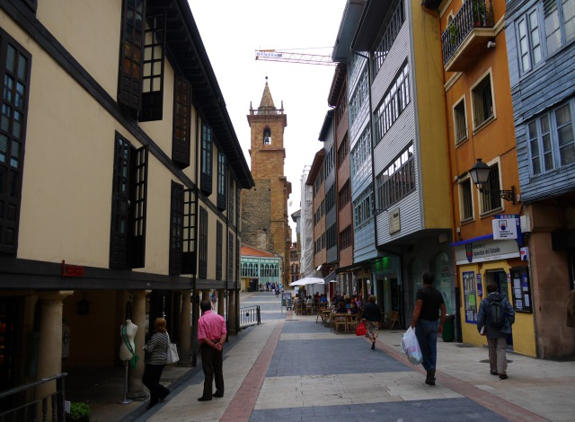 Calle de Fierro with the Church of Sant Isidoro the Royal in the background - Oviedo, Spain (1)