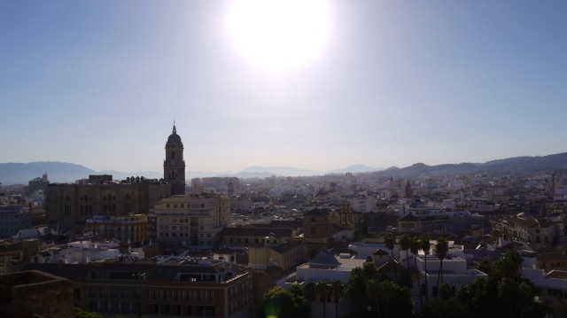 Panorama of the city of Malaga with the steeple of the Malaga Cathedral prominent, taken from Malaga Castle - Malaga, Spain (21)