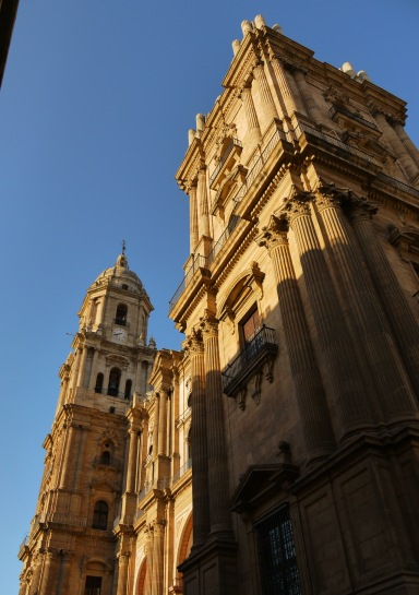 Steeple and main façade of Malaga Cathedral, taken from Obispo square - Malaga, Spain (36)