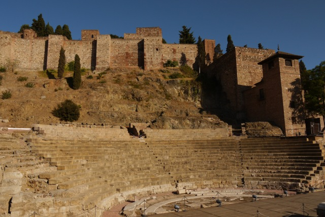 Roman theatre with the Malaga Castle above on the hill - Malaga, Spain (5)