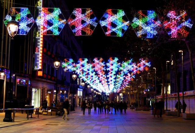 Portal de l'Àngel, Barcelona, Spain - Christmas decoration, photography challenge
