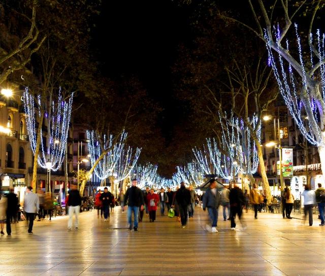 La Rambla, Barcelona, Spain - Christmas decorations, photography challenge