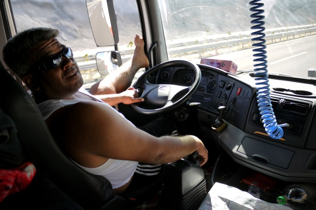 One of our relaxed Turkish drivers. Hitch-hiking in Turkey in 2011.