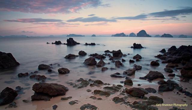 Gary Brummer Photography - Sunset in Krabi, Thailand, beach, rocks, sunset, pink and purple
