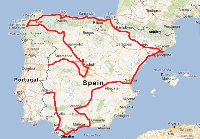 Our route in Spain.