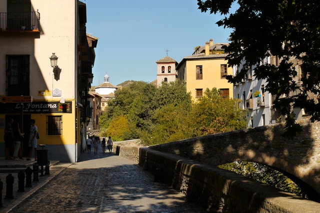 View along the Carrera del Darro Promenade with Goatherder's bridge to the right - Granada, Spain (138)