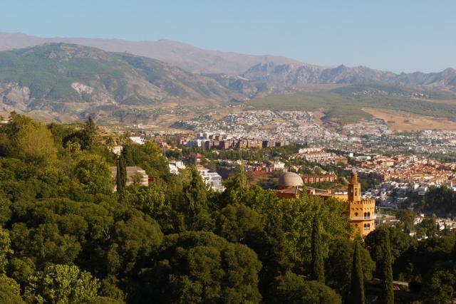 Granada, Spain (79) - the view towards the Sierra Nevada mountain range and the town of Cenes de la Vega, taken from the Alcazaba of Al Alhambra