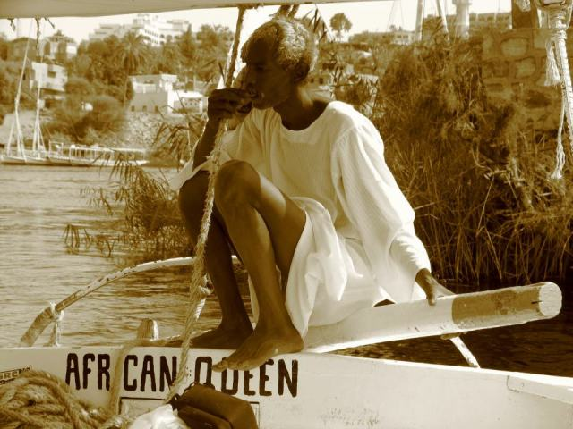 Nogai Khaan - Nubian sailor on the Nile River, near Aswan, Egypt