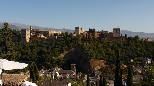 Granada, Spain  (154) - Palacios Nazaríes, Alcazar and Palacio de Carlos V of La Alhambra, taken from Mirador de San Nicolás in Barrio El Albayzín