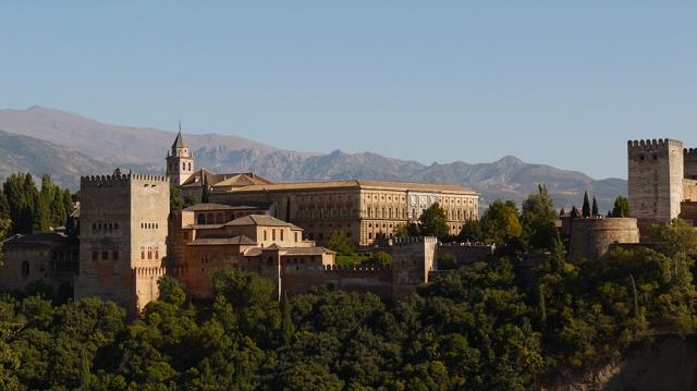 Granada, Spain  (155) - Palacios Nazaríes and Palacio de Carlos V of La Alhambra, taken from Mirador de San Nicolás in Barrio El Albayzín