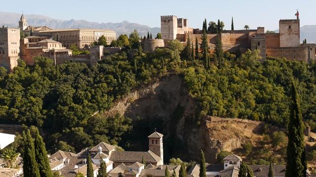 Granada, Spain  (158) - Alcazar and Palacio de Carlos V of La Alhambra, taken from Mirador de San Nicolás in Barrio El Albayzín