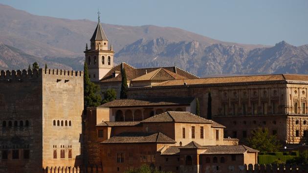 Granada, Spain  (163) - Close up of  Palacios Nazaríes and Palacio de Carlos V of La Alhambra, taken from Mirador de San Nicolás in Barrio El Albayzín
