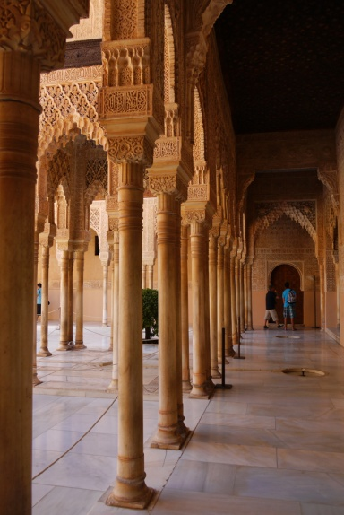Granada, Spain (17) - Inside Al Alhambra - a row of pillars in the Patio de los Leones