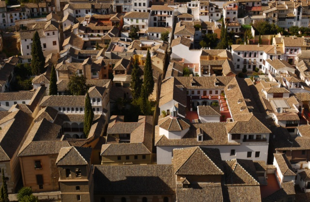Granada, Spain (58) - close up of typical Andalucian cortijo houses with courtyards, taken from Al Alhambra