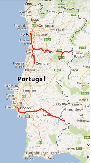 Portugal Hitchhikers Essentials HitchHikers Handbook - Portugal motorway map
