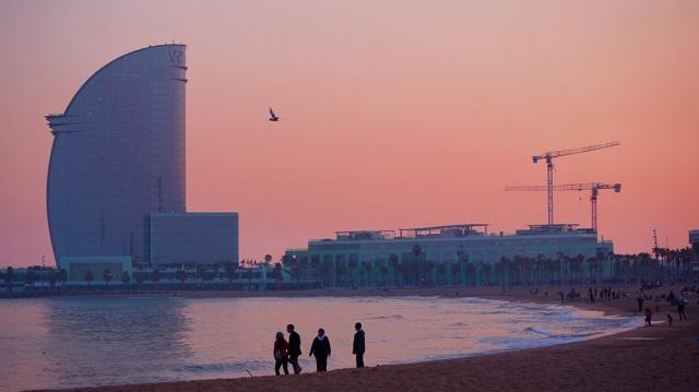 Pink sunset - Barcelona beach - Spain