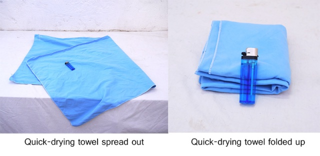 Quick drying towel - spread out and folded up