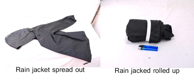 Rain jacket spread out and rolled up
