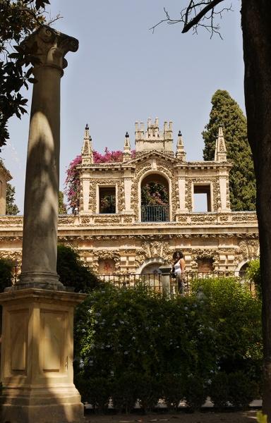 Sevilla, Spain (27) - Inside Reales Alcázares de Sevilla - La galería del Grutesco in the Jardines de Mercurio, as seen from Jardín de la danza