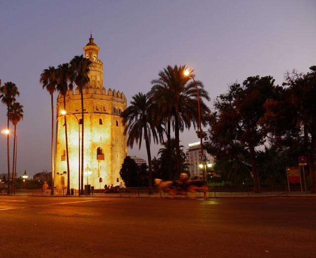 Sevilla, Spain (44) - Illuminated Torre del Oro, as seen from Paseo de Cristóbal Colón
