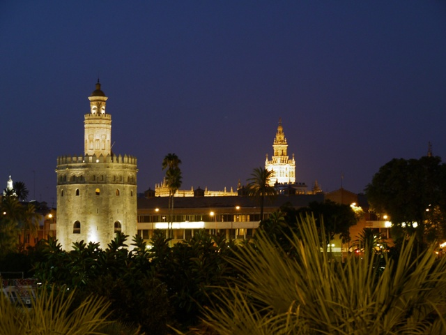 Sevilla, Spain (48) - Torre del Oro and La Giralda prominent against  the night's sky