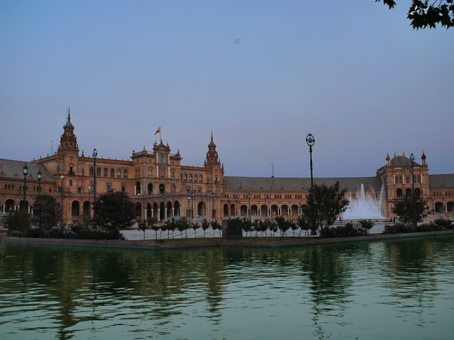Sevilla, Spain (68) - View across Plaza de España with the pavilion building and Fuente de la Plaza de España clearly visible, taken Parque de María Luisa