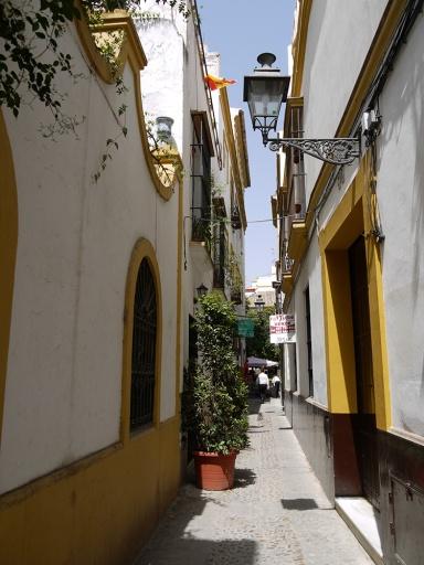 Sevilla, Spain (86) - Typical Andalucian whitewashed buildings, taken in an alley in Barrio de Santa Cruz