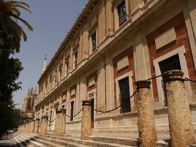 Sevilla, Spain (95) - The main façade of the Archivo General de Indias, taken on Av. de la Constitución