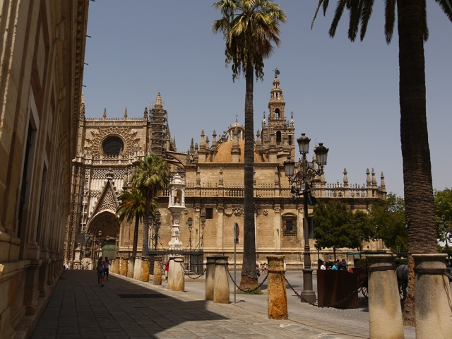 Sevilla, Spain (96) - The southern lateral façade of the Catedral de Sevilla, with the walls of the Archivo General de Indias on the left