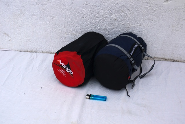 Sleeping bag and a self-inflatable mat