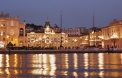 Trieste central square by night, Italy