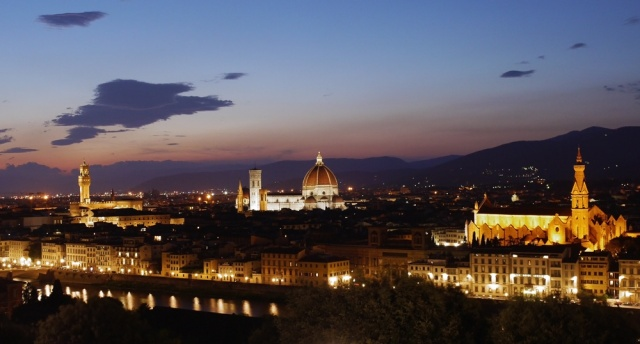 Florence, Italy by night - view over Cattedrale de Santa Maria de Fiore, Basilica di Santa Croce and Palazzo Vecchio from Piazzale Michelangelo - small