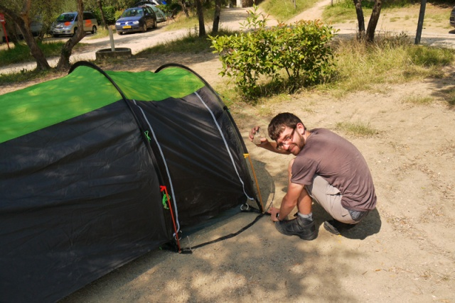Jon pitching the tent in Florence, Italy - small