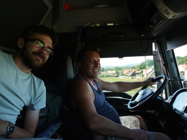 With our first driver in Slovenia - a Polish lorry driver