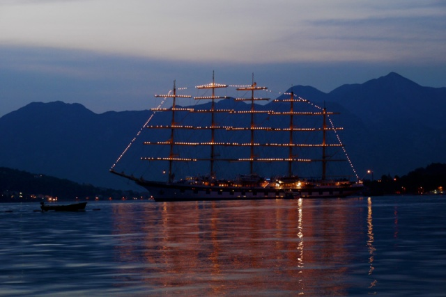 A ship anchored in Kotor Bay, Montenegro