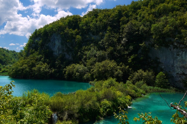 Green water pools in Plitvice, Croatia