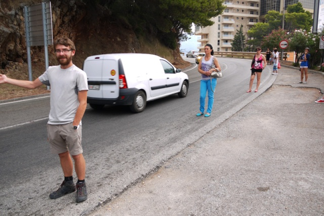 Jon competing for a hitch-hiking spot with locals, Budva, Montenegro