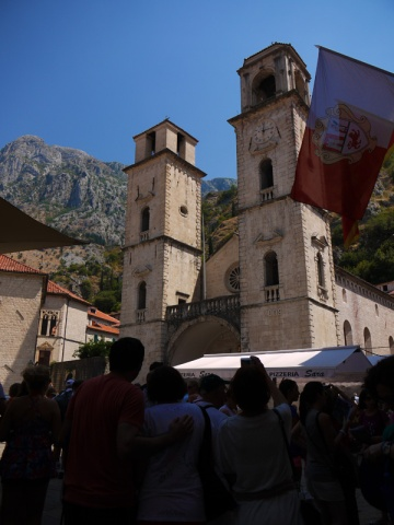 Kotor Cathedral and a horde of tourists outside, Montenegro