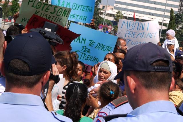 Roma Community protests in Tirana, Albania