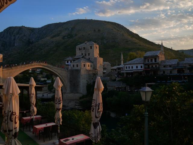 The Old bridge at sunset, Mostar, Bosnia and Herzegovina