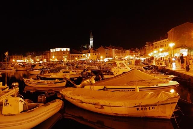 Trg m Tita, Rovinj, Croatia by night