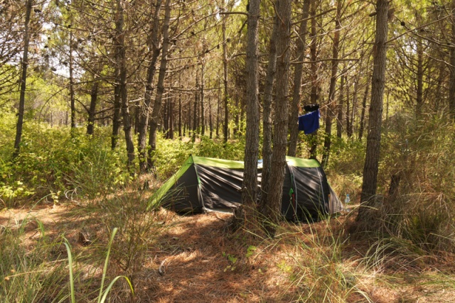 Camping in the forest near Spille, Albania