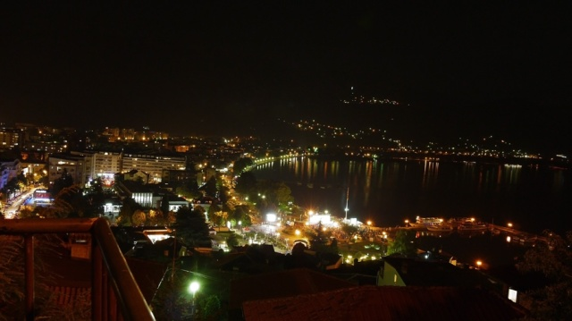 Ohrid by night, seen from the hill where we got engaged, Ohrid, Macedonia