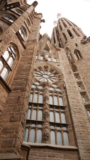 Sagrada Familia from the outside and the mixture of styles, Barcelona, Spain