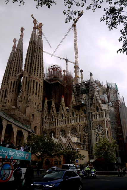 Sagrada Familia on the day it was set fire to in 2011, Barcelona, Spain