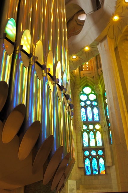 Sagrada Familia's organ reflecting light, Barcelona, Spain