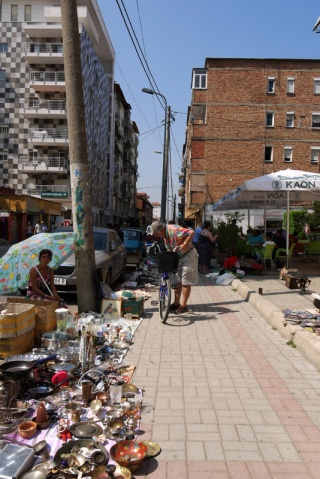 Streets of Tirana where you can buy all the different bits & bobs