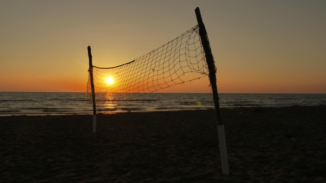 Sunset on the beach near Spille, Albania