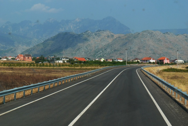 The landscape and the road from the Macedonian border to Tirana, Albania